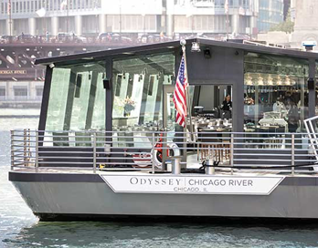 Odyssey Chicago River tour boat on the Chicago River